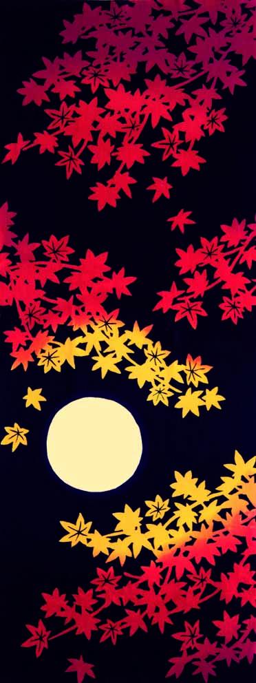 月夜に紅葉
